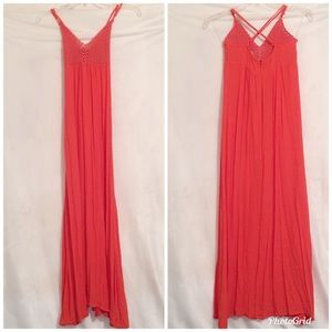 Anthropologie Alythea Coral Crochet Maxi Dress S